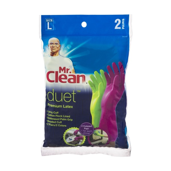 Mr. Clean Duet Premium Latex Gloves Size L - 2 PR