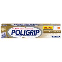 Super Poligrip Extra Care Zinc Free Denture Adhesive Cream, 2.2 ounce