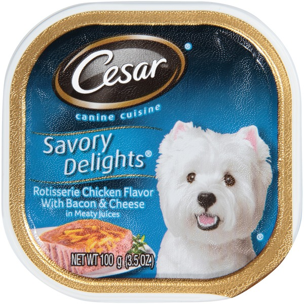 Cesar Rotisserie Chicken Flavor with Bacon & Cheese in Meaty Juices Wet Dog Food