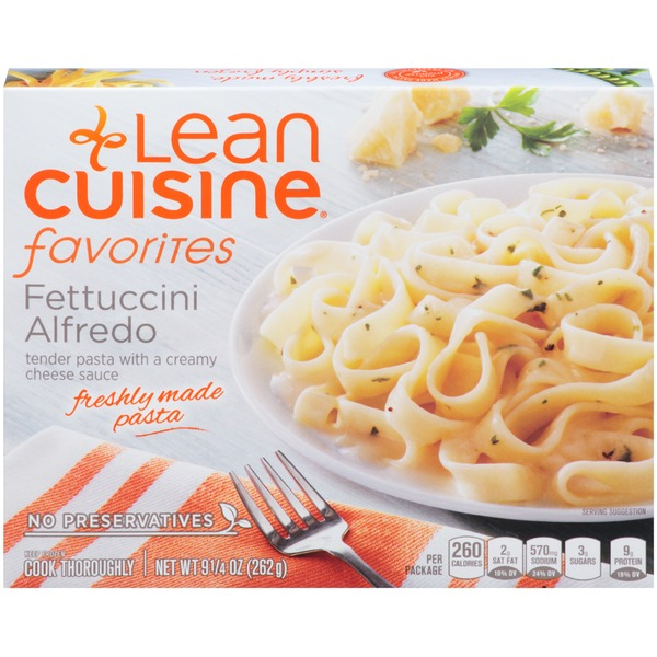 Lean Cuisine Favorites Tender pasta with a creamy cheese sauce. Fettuccini Alfredo