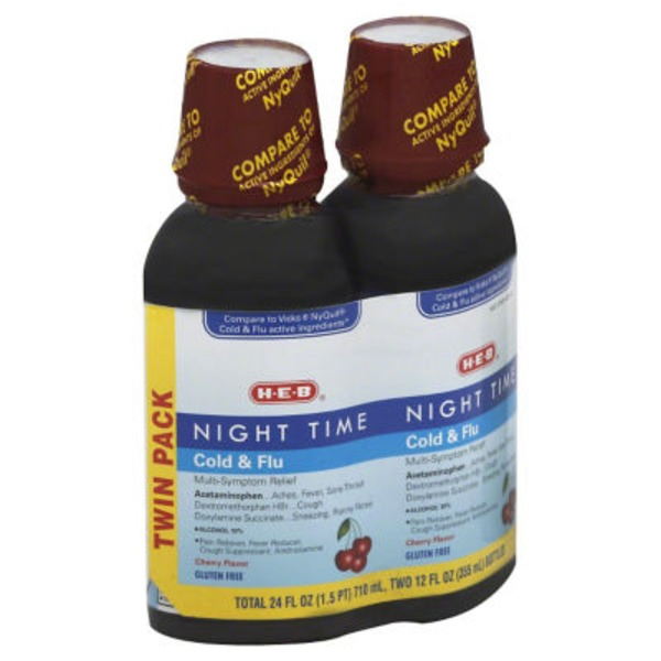 H-E-B Cherry Flavor Night Time Cold & Flu Syrup