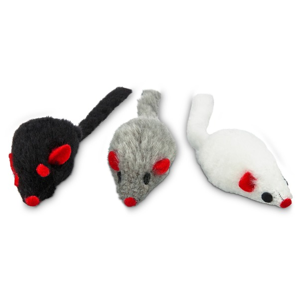 Leaps & Bounds Fuzzy Mice Cat Toys With Catnip Pack Of 3 Toys