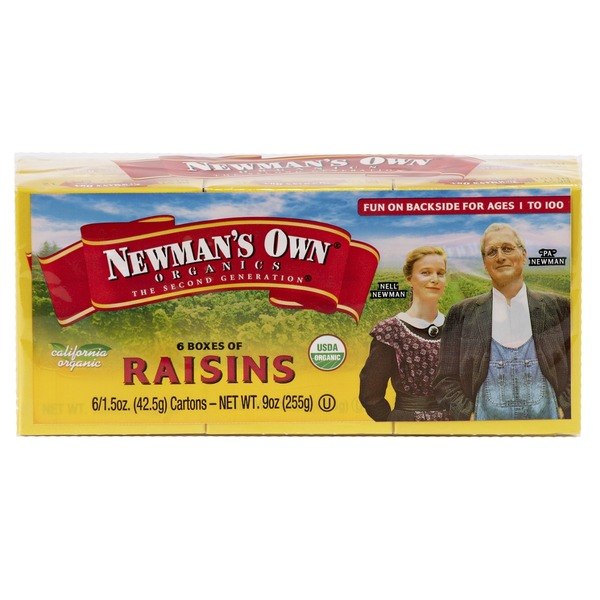 Newman's Own 6ct boxes -1.5oz Raisins