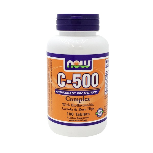 Now Vitamin C-500 Complex with Bioflavonoids, Acerola, & Rose Hips Tablets