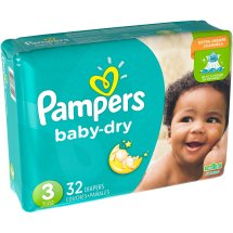 Pampers Baby Dry Diapers, Size 3, 32 Diapers