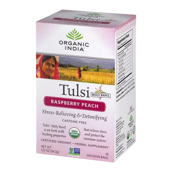 Organic India Tulsi Holy Basil Herbal Supplement Infusion Bags Raspberry Peach - 18 CT