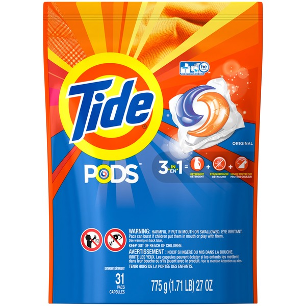 Tide PODS HE Turbo Laundry Detergent Pacs, Original Scent, 31 count Laundry