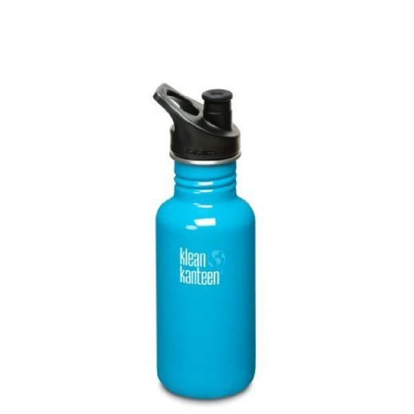 Klean Kanteen Stainless Steel Water Bottle With Sport Cap, Aqua Color