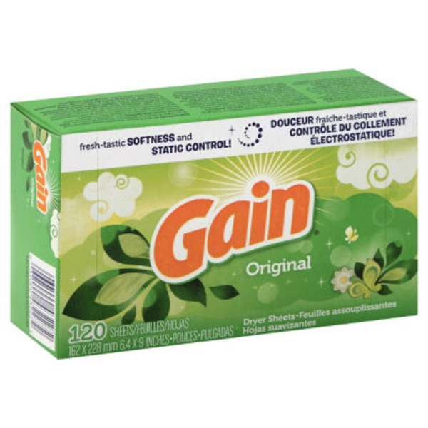 Gain Dryer Sheets, Original Scent, 120 count Fabric Enhancers
