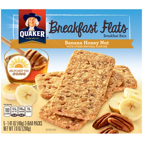 Quaker Breakfast Flats Banana Honey Nut Crispy Snack Bars