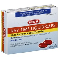 H-E-B Day Time Liquid Caps Multi Symptom Cold/Flu Relief Softgels