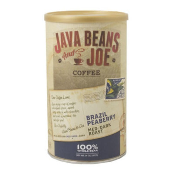 Java Beans And Joe Brazil Peaberry Medium Dark Roast Coffee