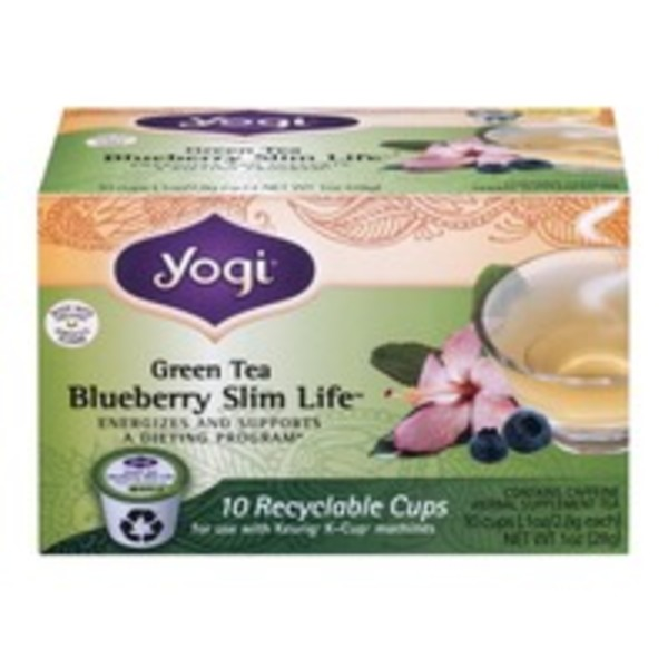 Yogi Green Tea Blueberry Slim Life Recyclable Cups - 10 CT