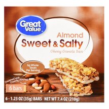 Great Value Chewy Granola Bars, Sweet & Salty Almond, 7.4 oz, 6 Count