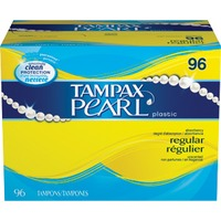 Tampax Pearl Tampax Pearl Plastic Regular Absorbency, Unscented Tampons 96 Count  Feminine Care