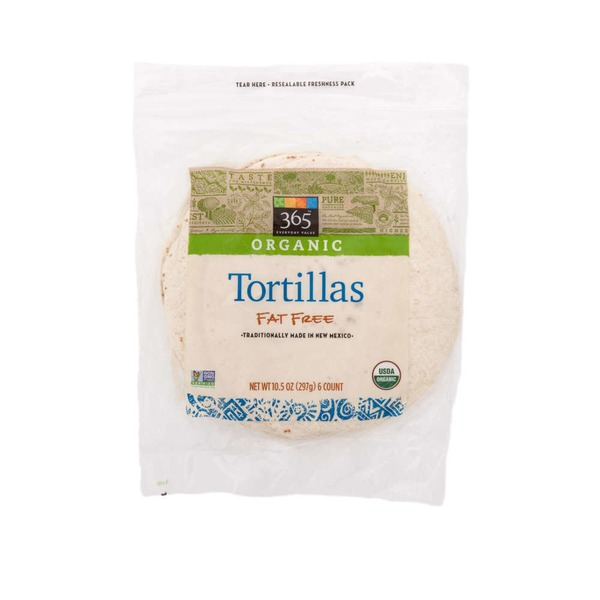 365 Organic Unbleached Fat Free Flour Tortillas 6 Count