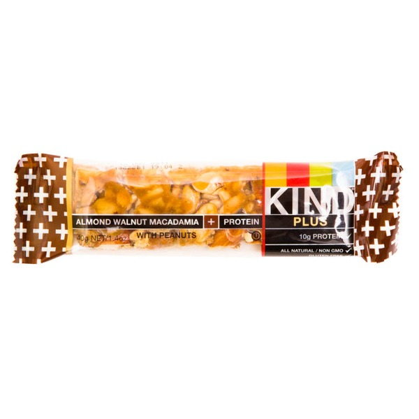 KIND Almond Walnut Macadamia with Peanuts Plus Protein Fruit & Nut Bar