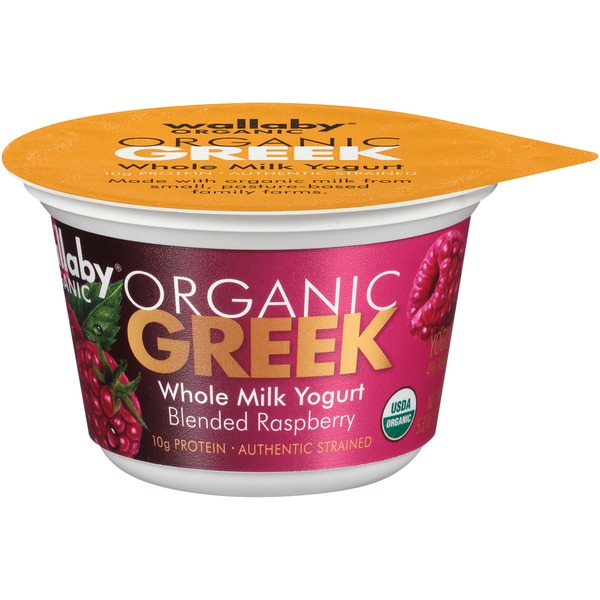 Wallaby Organic Organic Greek Whole Milk Blended Raspberry Yogurt