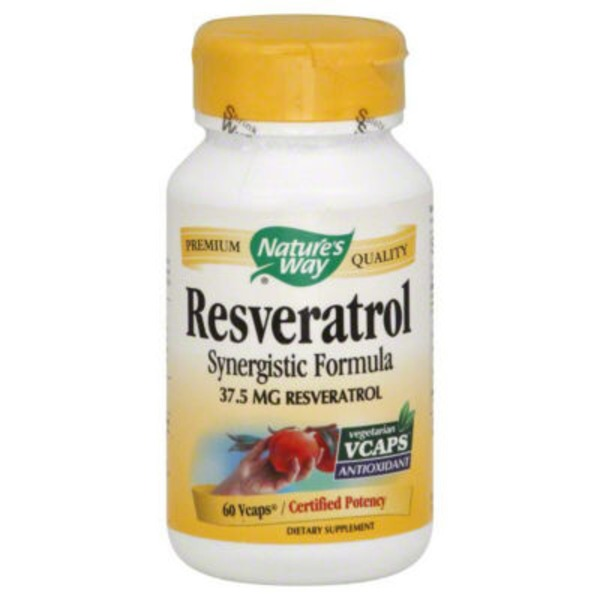 Nature's Way Resveratrol, Synergistic Formula, 37.5 mg, Vegetarian Vcaps