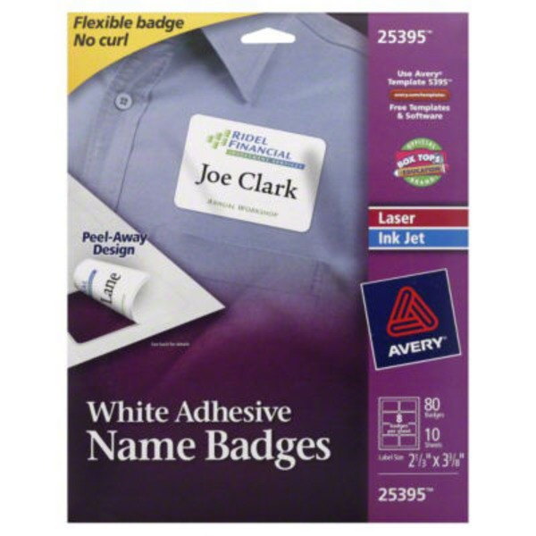 Avery Name Badges, White Adhesive, Laser/Ink Jet