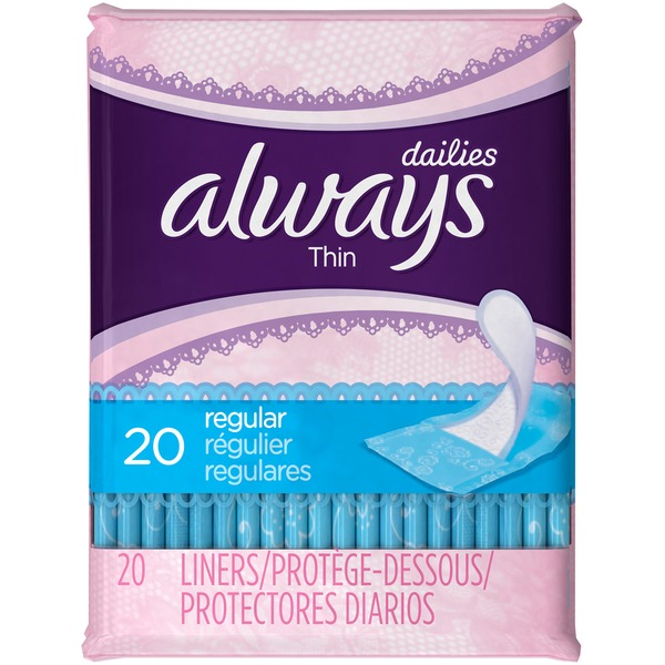 Always Thin Always Thin Dailies Unscented Wrapped Liners 20 Count Feminine Care