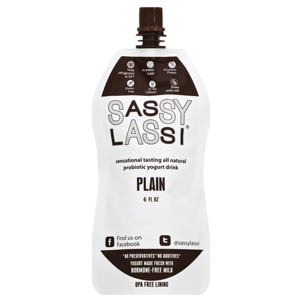 Sassy Lassi Yogurt Drink, Plain, Pouch
