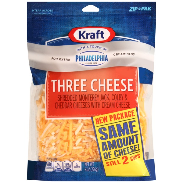 Three Cheese with a Touch of Philadelphia Shredded Cheese