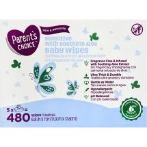 Parent's Choice Sensitive Baby Wipes, 5 packs of 96 (480 count)