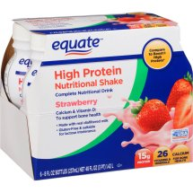 Equate strawberry high protein nutritional shakes, 8 Oz, 6 ct