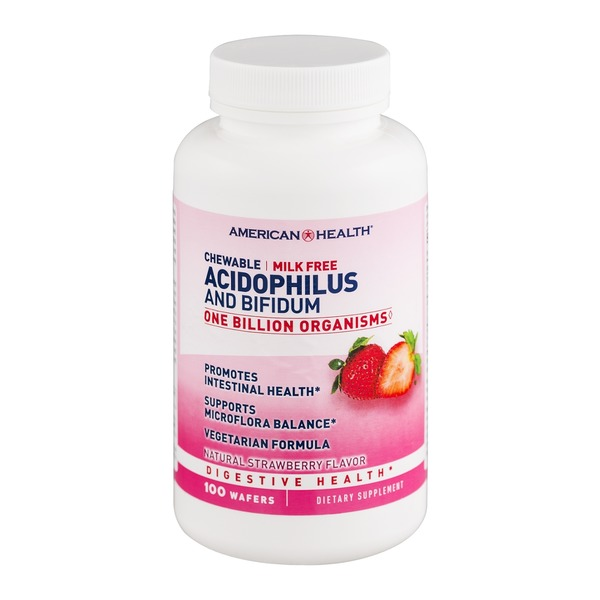 American Health Chewable Acidophilus and Bifidum Digestive Health Supplements Strawberry Flavor - 100 CT