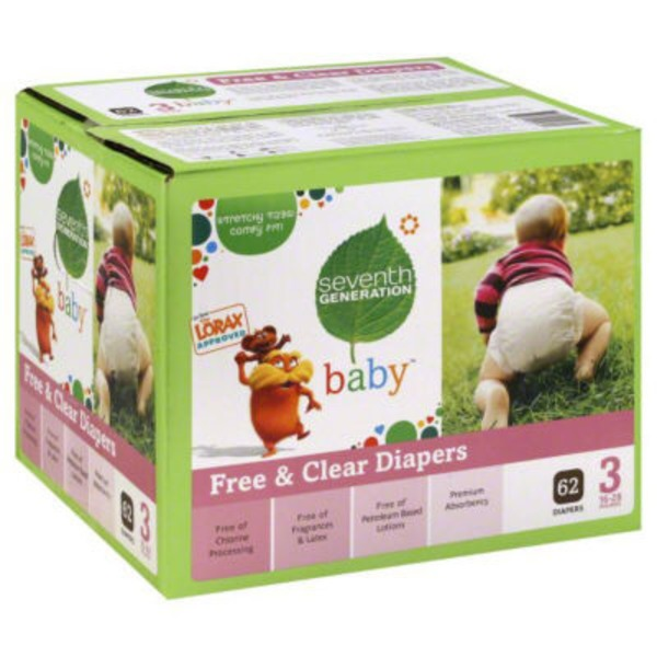 Seventh Generation Baby Free & Clear Size 3 16-28 Lbs Diapers