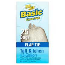 Basic Top Job Flap Tie Tall Kitchen Bags, 13 gallon, 25 count