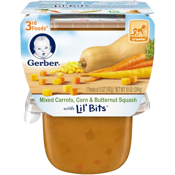 Gerber 3 Rd Foods 3F Mixed Carrots Corn & Butternut Squash with Lil' Bits Purees Vegetable