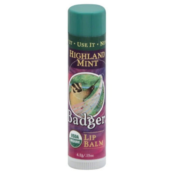 Badger Lip Balm, Highland Mint, Organic, Tube