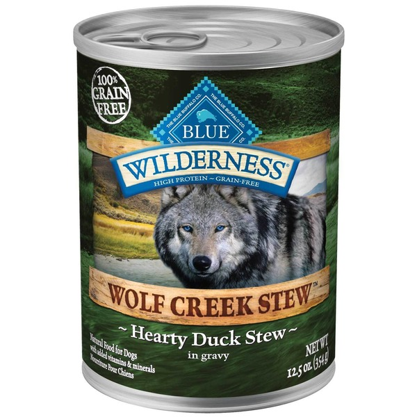 Blue Buffalo Wilderness Wolf Creelk Stew Hearty Duck Stew in Gravy Natural Food for Dogs