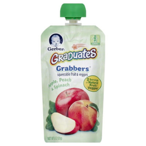 Gerber Grabbers Apple Peach Spinach Squeezable Puree