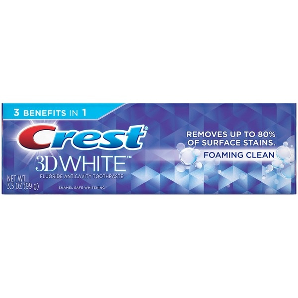 Crest 3D White Foaming Clean Fluoride Anticavity Toothpaste