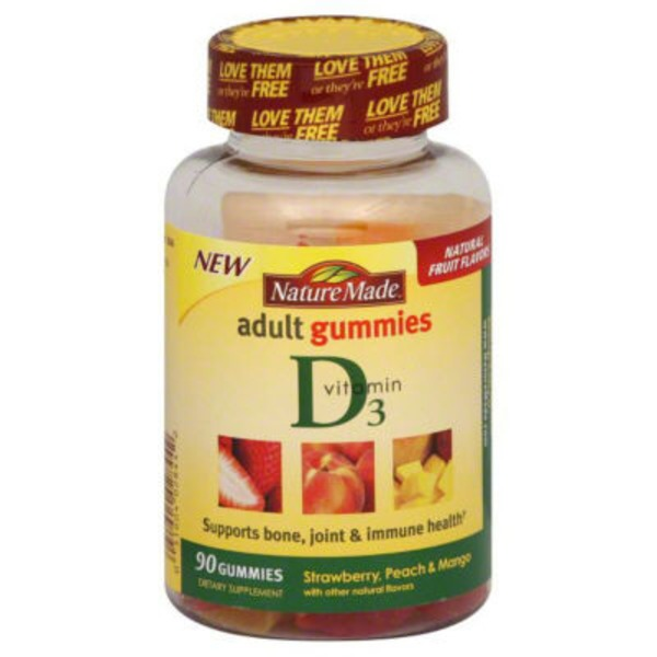 Nature Made Strawberry Peach And Mango Adult Vitamin D3 Gummies