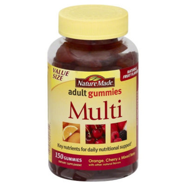 Nature Made Adult Gummies Multi Orange, Cherry & Mixed Berry - 150 CT