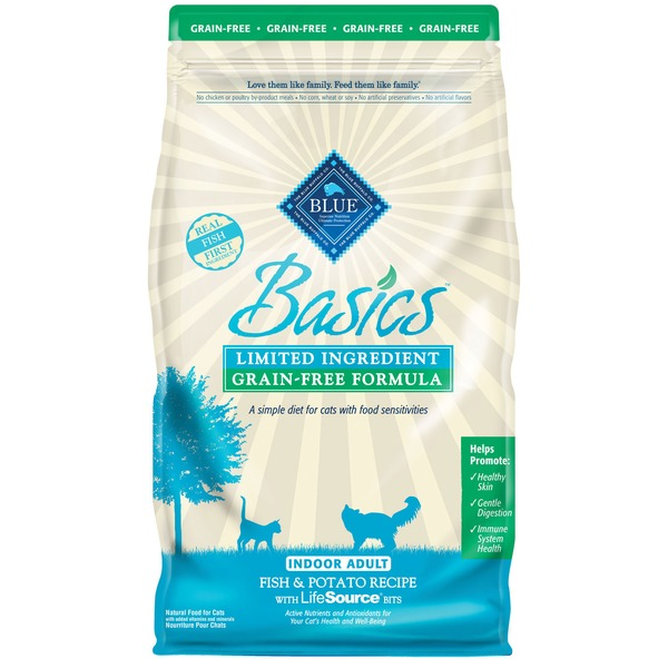 Blue Buffalo Cat Food, Dry, Basics Fish & Potato, Indoor Adult, Bag