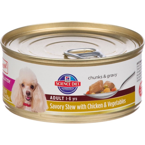 Hill's Science Diet Dog Food, Premium, Adult, Small & Toy, Savory Stew with Chicken & Vegetables