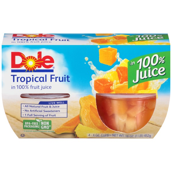 Dole Fruit Bowls Tropical Fruit in 100% Juice