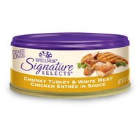 Wellness Signature Selects Grain Free Chunky Turkey & White Meat Chicken Entree Canned Cat Food 5.