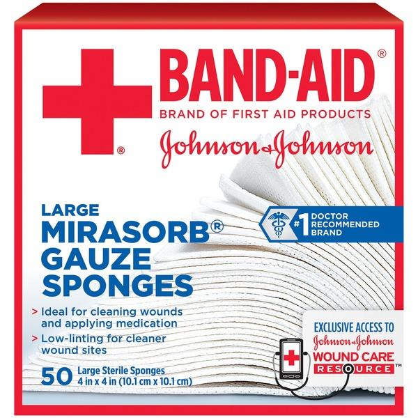 Band Aid® Brand Of First Aid Products J&J Band-Aid FA Mirasorb 4 X 4 In Gauze First Aid Covers Gauze Pads