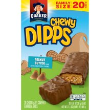 Quaker Chewy Dipps Peanut Butter Granola Bars, 20 Count, 1.05 oz Bars