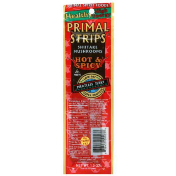 Primal Strips Hot & Spicy Shiitake Mushroom Meatless Jerky