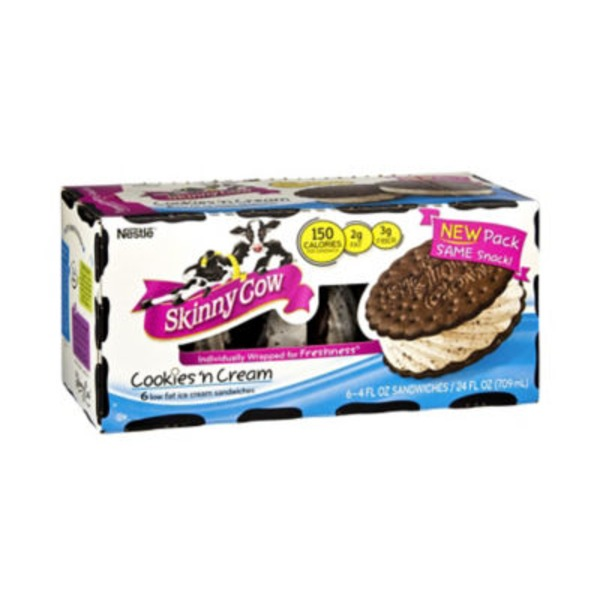 Skinny Cow Cookies 'n Cream Low Fat Ice Cream Sandwiches