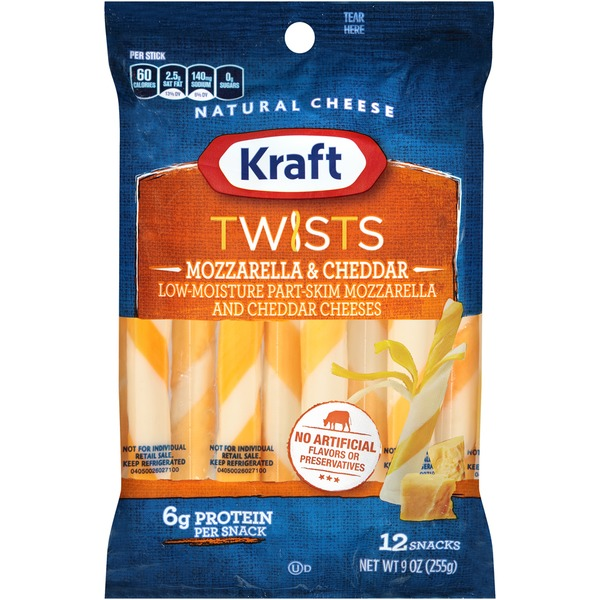 Kraft Natural Cheese Snacks Mozzarella & Cheddar Twists Cheese