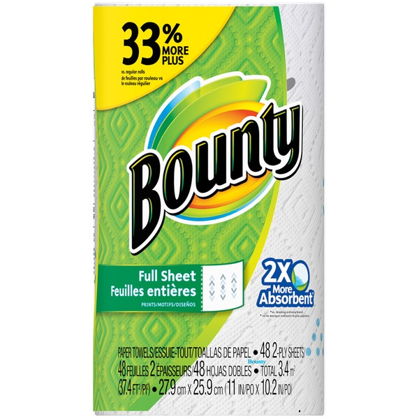 Bounty Basic Paper Towels, Print, 1 Big Roll = 33% More Sheets Towels/Napkins