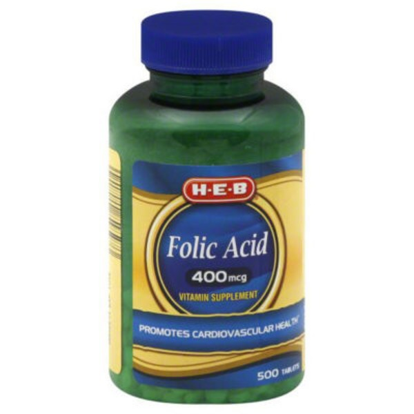 H-E-B Folic Acid 400 Mcg Tablets